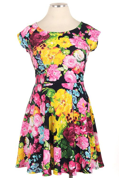 Pink Floral Fit and Flare Dress - #blondellamydean #plussizefashion