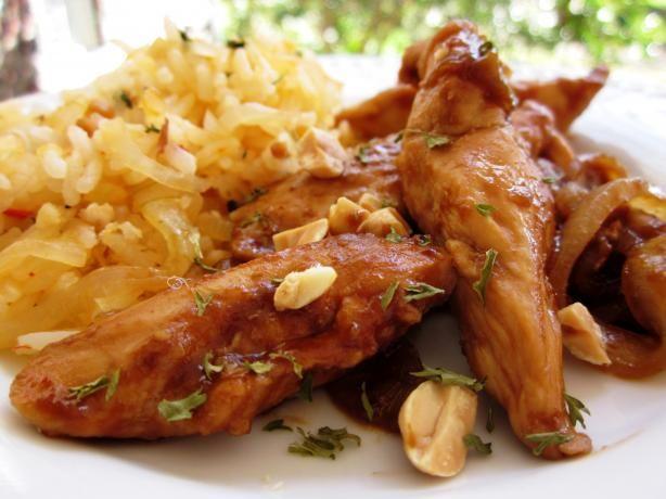 Sriracha-Glazed Chicken and Onions over Long-Grain Rice | Recipe