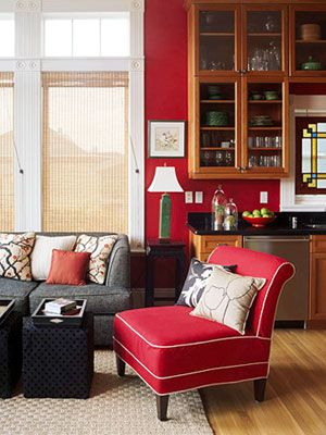 Charcoal grey couch with red and beige for Charcoal and red living room