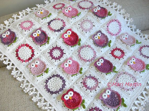 Free Crochet Pattern For Owl Baby Blanket : Owl Blanket Crochet Fantasy Newborn Baby Colorful Pattern ...