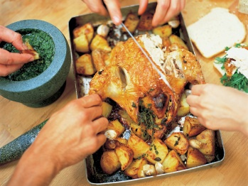 Roast Chicken with Lemon and Rosemary Roast Potatoes from Cookstr ...