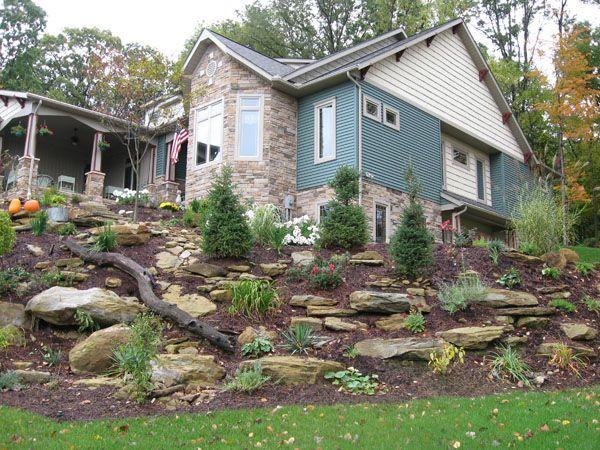 Hillside landscaping with large rocks gardening for Hillside landscaping
