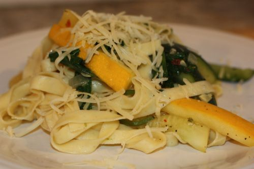 Summer squash pasta with (spicy) rosemary butter
