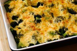 broccoli gratin with swiss & parmesan
