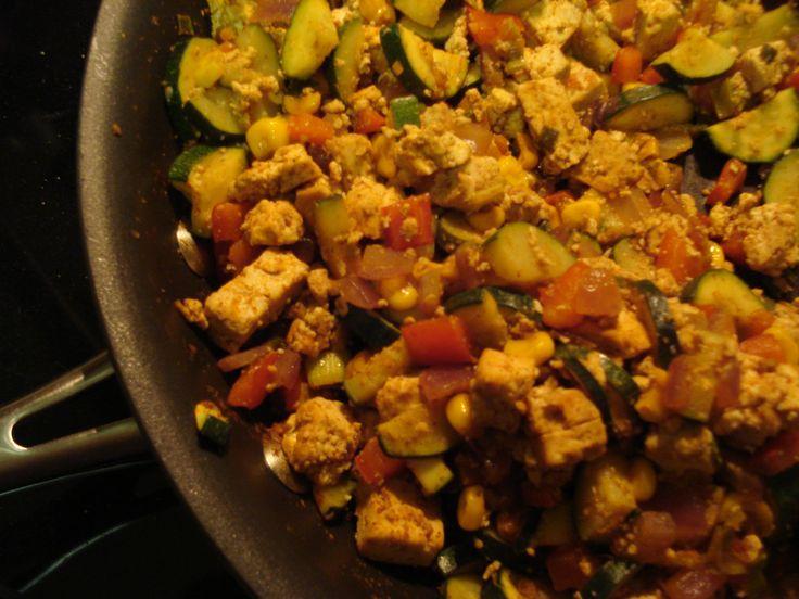 Southwestern Tofu Scramble with Veggies and Stewed Black Beans
