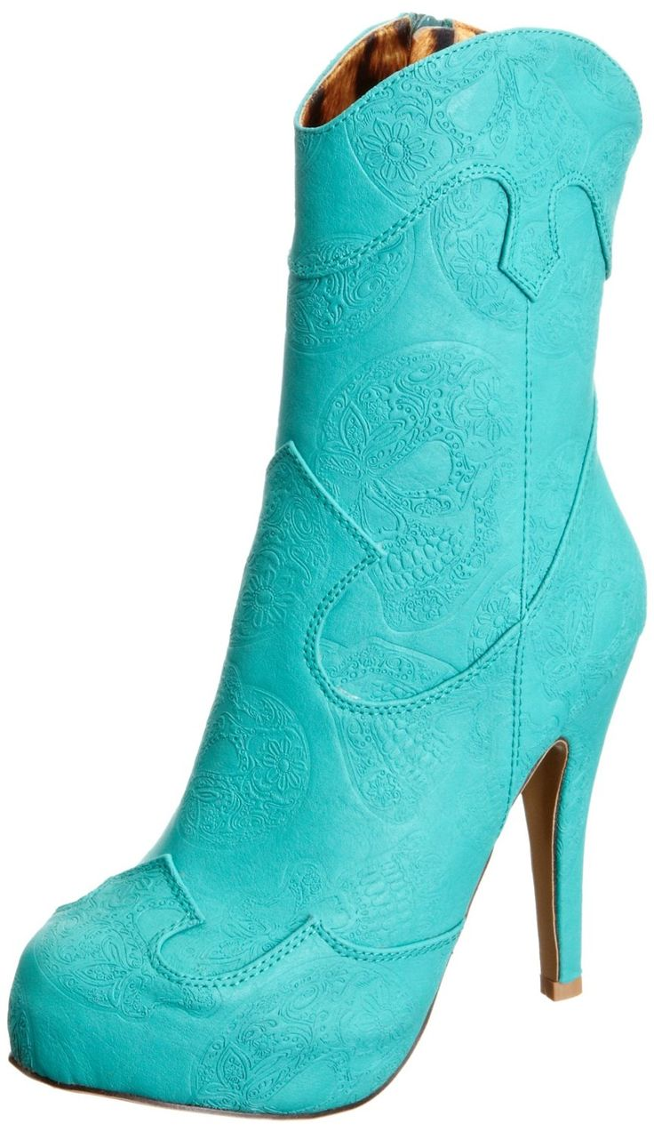 Unique Vintage Teal Cowgirl Boots Womens Size 7 Spring Fashion