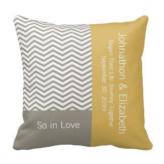 Gray and White Chevron Chic Commemorative Wedding Throw Pillows