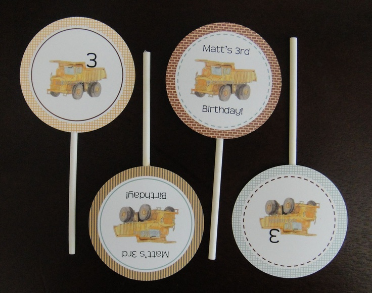 Construction Cupcake Toppers-multiple styles  www.BabadooDesigns.com