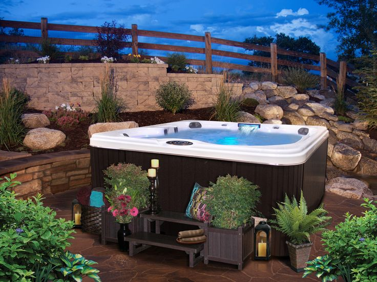 Landscaping around hot tub backyard reno pinterest for Hot tub landscape design