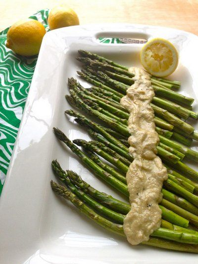 Creamy tahini dressing and asparagus... Swoon