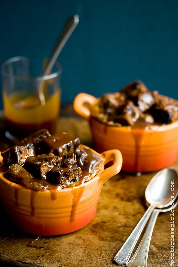 Dark Chocolate-Espresso Pumpkin Bread Pudding with Salted Caramel Sauce