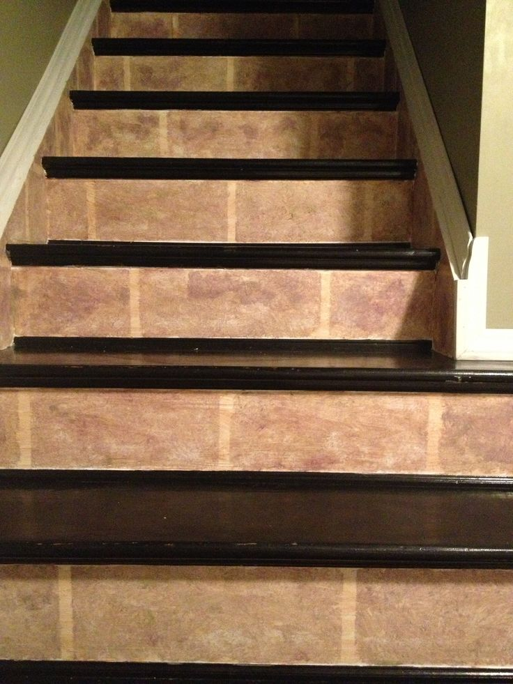 stair risers painted faux stone ideas for the steps. Black Bedroom Furniture Sets. Home Design Ideas
