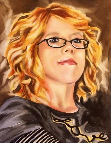 Watercolor Portrait Painting Original Fine Art Woman Retro Glasses ...
