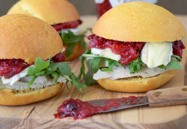 Turkey Sliders with Brie, Arugula and Cranberry Chutney on Sweet Pota ...