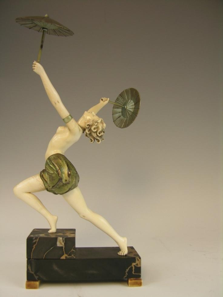 """Parasol Dancer by Ferdinand Preiss 12.5 """"high 1920's"""