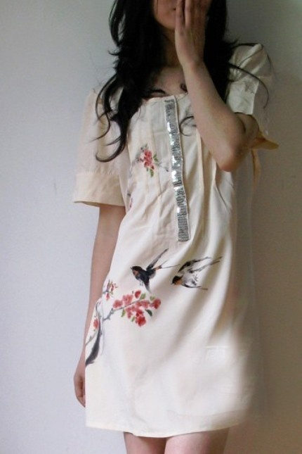 A little bird told me - hand painted dress