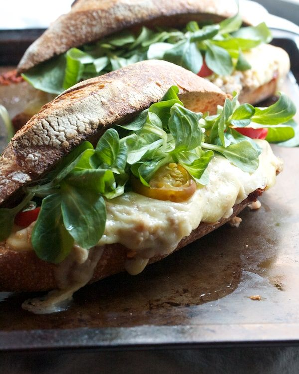 ... -Style Tuna Melts with Sun-Dried Tomato Pesto, Arugula & Hot Peppers