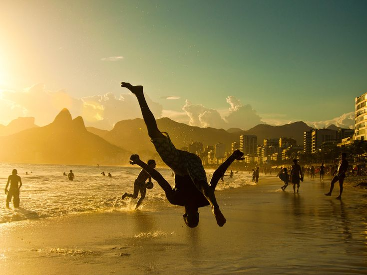 A man performing on a beach in Ipanema, Brazil.