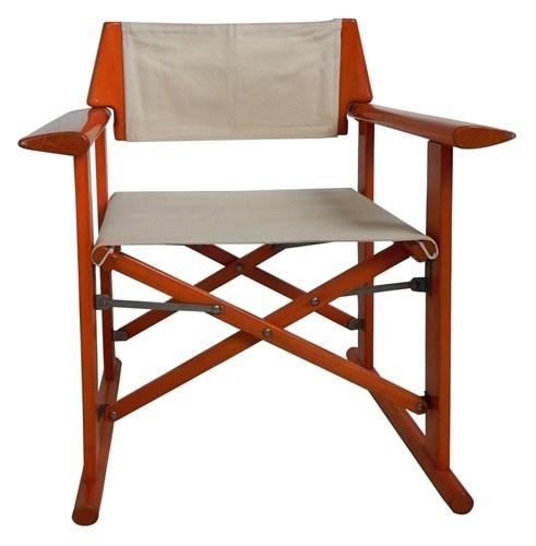 Italian folding wood and canvas chair Interior