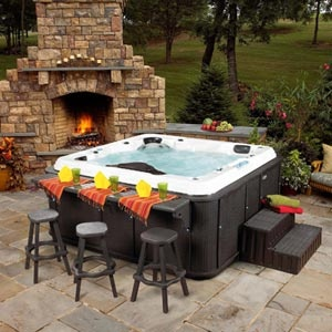 nice a spa hot tub with an attached bar out door fun. Black Bedroom Furniture Sets. Home Design Ideas