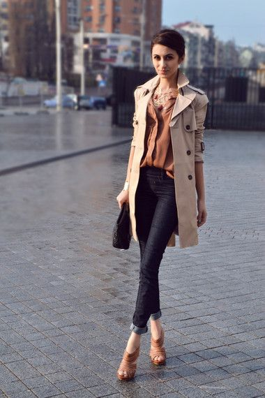 Tailored and classic.  Trench + heels + jeans