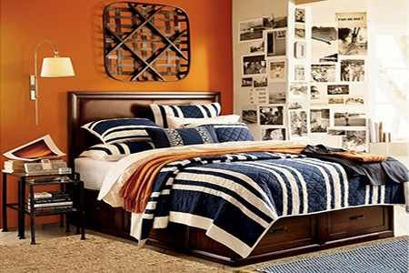 Navy Blue White Brown Orange Bedroom Bed Ideas Easton 39 S Room Pinte
