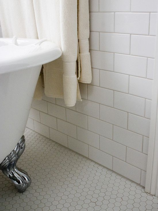 White subway tile with honeycomb floor tile - want taupe/chocolate grout