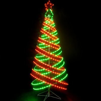 Red & Green Spiral Tape Tree with 818 LED's -