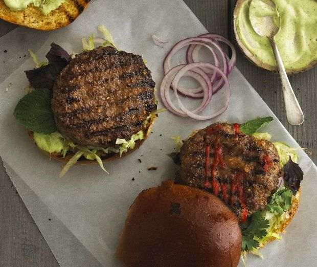 saigon burgers ginger glaze and thai basil mayo recipe # foodrepublic
