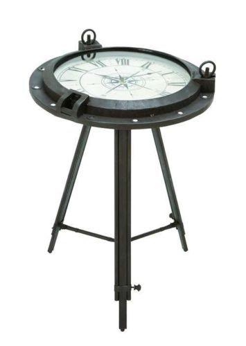 Nautical Ship Porthole Clock End Side Table W Watch Face