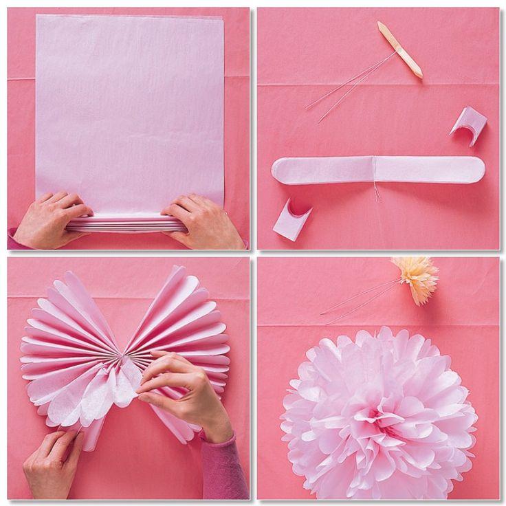 tissue paper pom pom diy flower kids pinterest. Black Bedroom Furniture Sets. Home Design Ideas