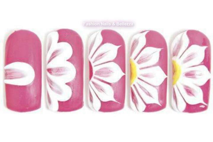 Как рисовать цветы на ногтях пошаговое
