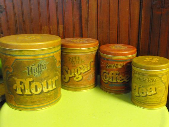 vintage ballonoff country kitchen canister set of 4 flour