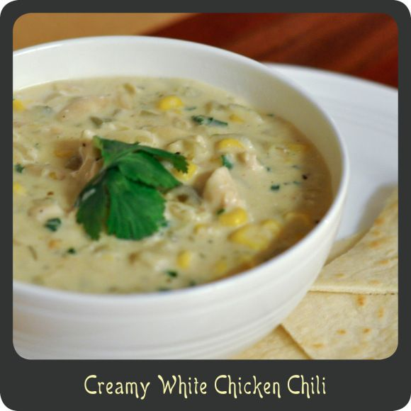 Creamy White Chicken Chili.... So so good, made it tonight for dinner ...