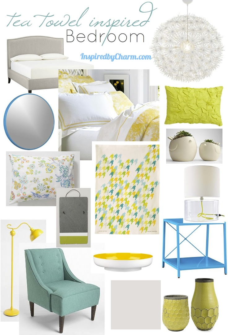 inspired by charm: A Tea Towel Inspired Bedroom! Love this color scheme!
