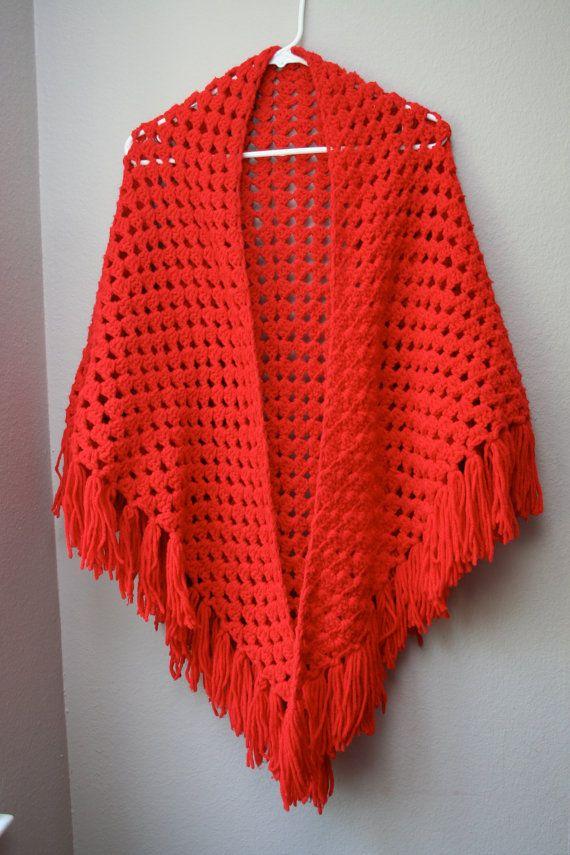Crochet Patterns For Shawls Vintage : Vintage Red Crochet Shawl