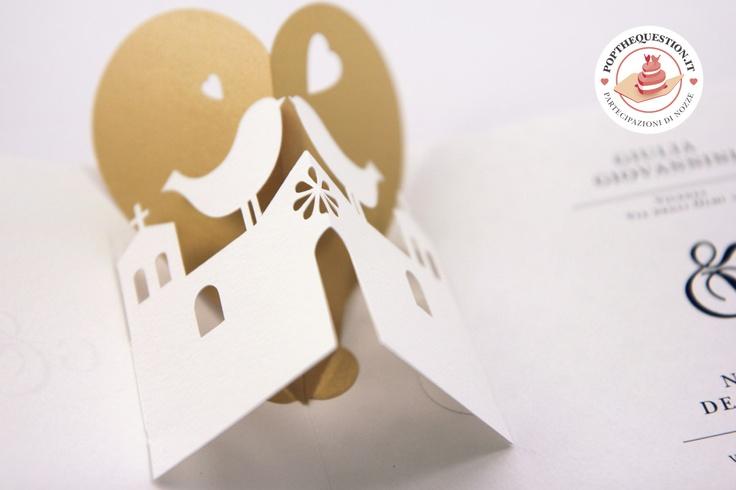 Partecipazioni di matrimonio pop-up. Una chiesa romantica. #wedding # ...