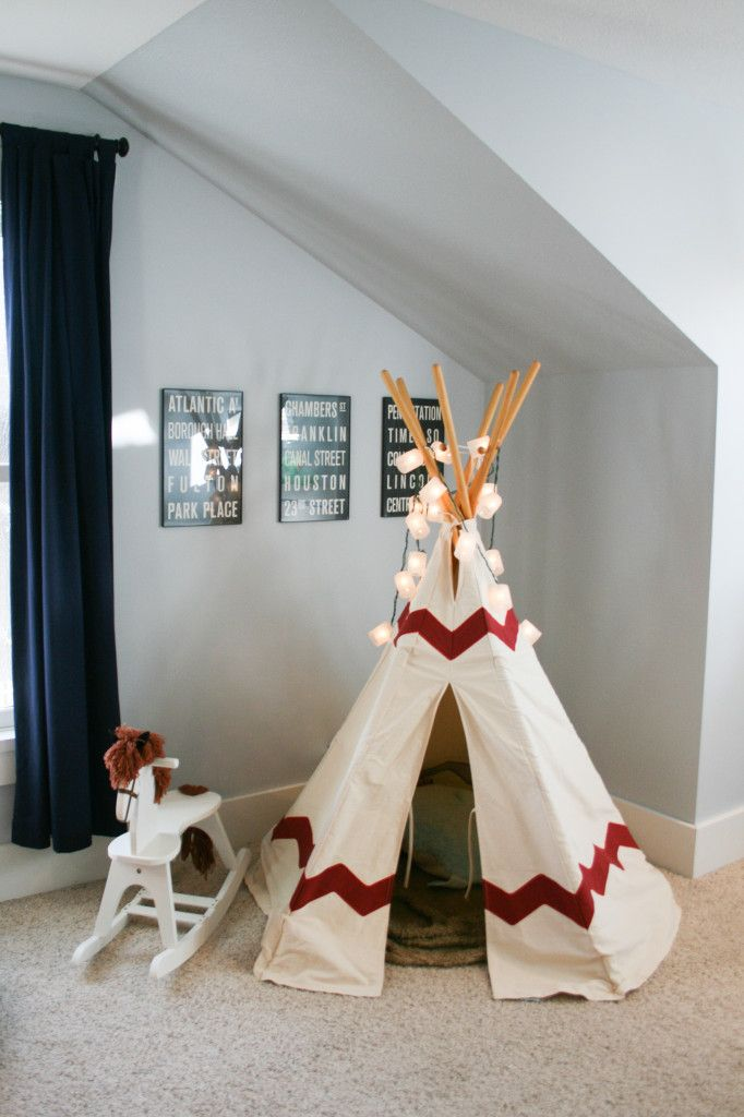 Must-have for any #bigboyroom? A teepee! The lights on top are a fun addition.