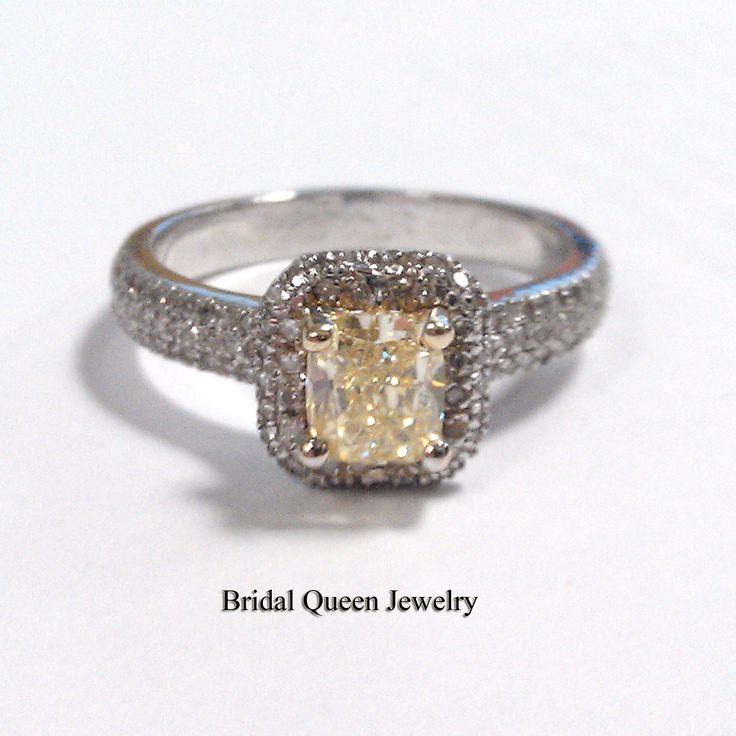 2Ct Fancy Canary Yellow Diamond Engagement Cushion Cut Ring Set 18K W…