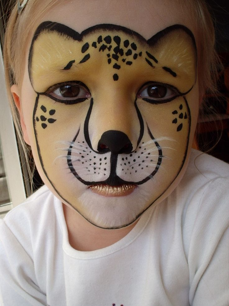Easy cheetah face paint for kids - photo#18