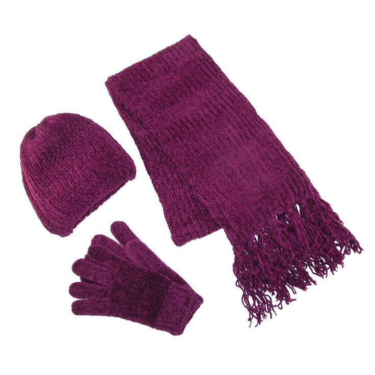 ctm 174 womens chenille solid hat gloves and scarf winter set