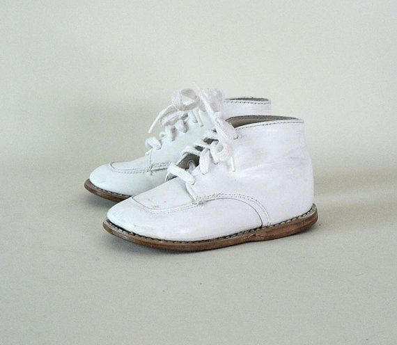 vintage white high top baby shoes