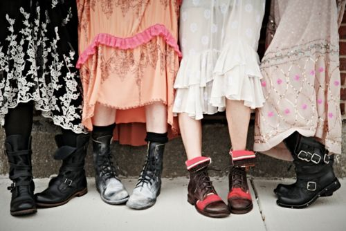 Pretty Dresses & Tough Boots #freepeople #boots