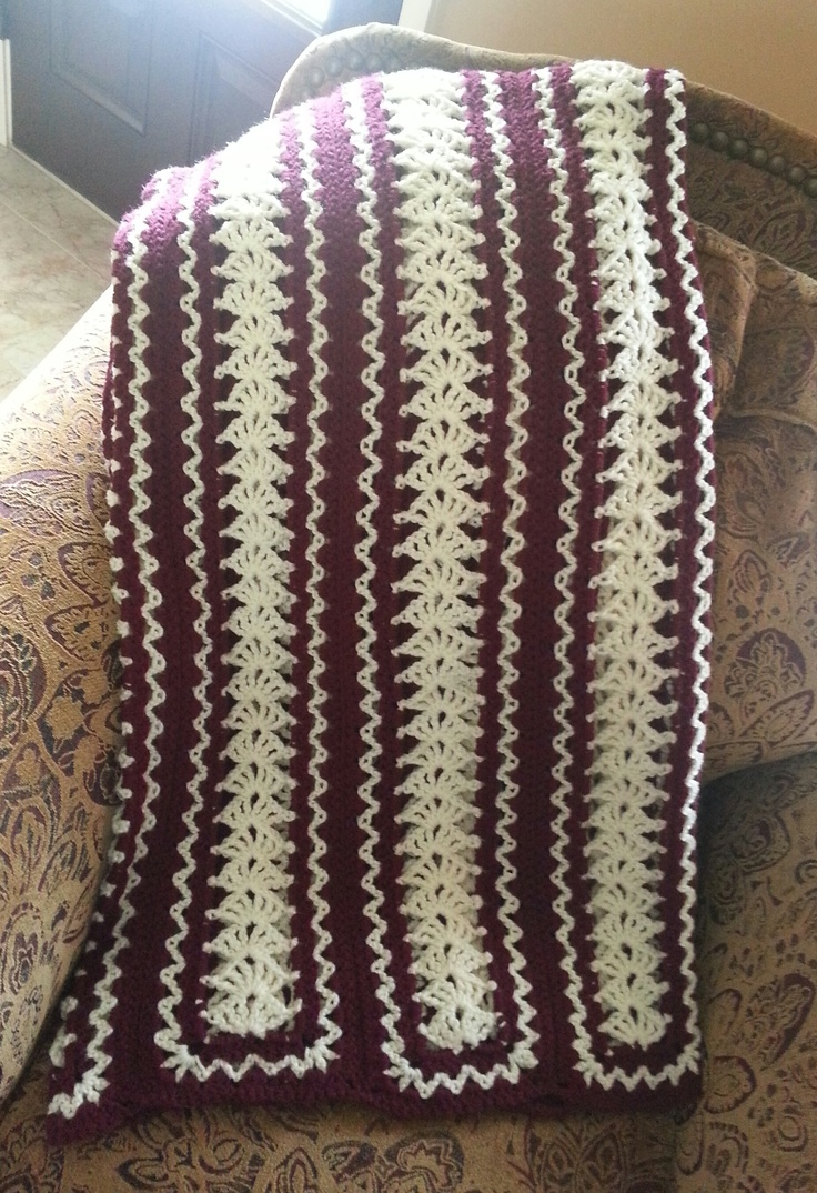 Crochet Afghan Patterns Mile A Minute : Mile-a-Minute afghan in wine and ecru Crochet Pinterest