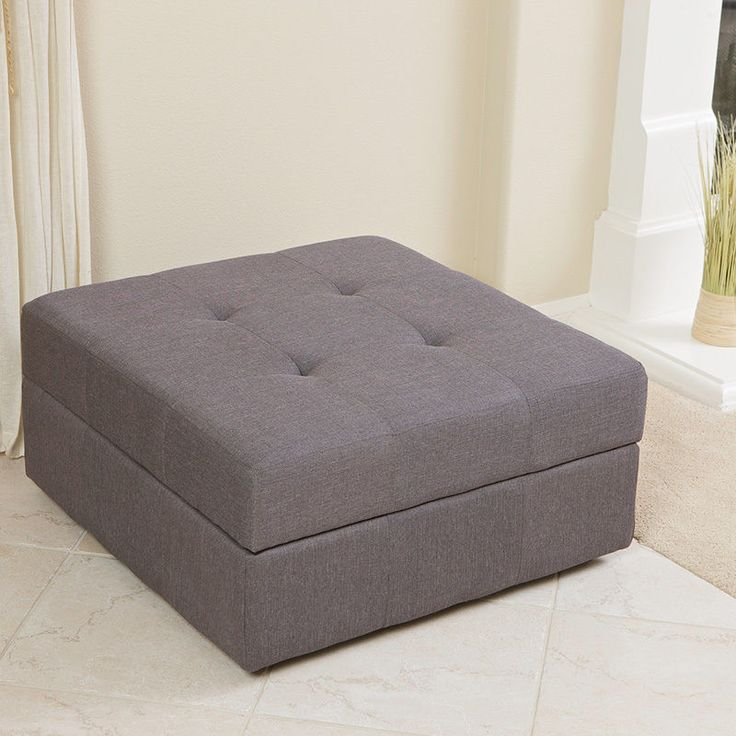 Elegant Spacious Gray Fabric Storage Ottoman Coffee Table With Tufted