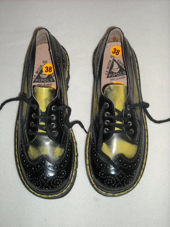 Vintage Yellow/Black Size 38 Platform Brogues by walydesign, $90.90