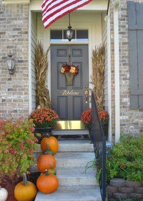 small front porch fall decor.
