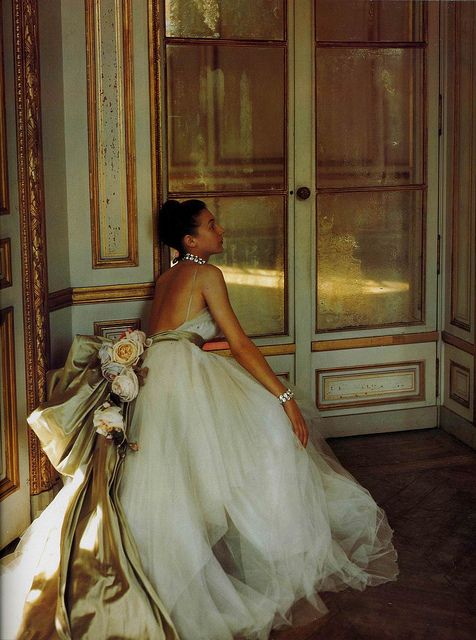 Exquisite ball gown by Christian Dior, photo by Louise Dahl-Wolfe, location Chateau de Madrid, 1947