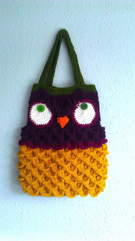 Crochet Pattern For Owl Bag : Crochet Owl Bag
