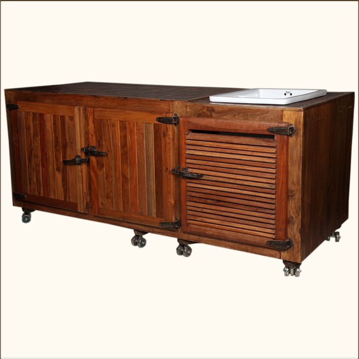 Moveable Solid Wood & Ceramic Buffet Kitchen Sink Cabinet - Indian ...
